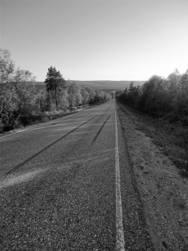 To jest droga prowadząca na Nordkapp. Przecinam ją w poprzek i myślę sobie, jak przestrzenie emocji i frajdy ludzie objeżdżają naokoło, nigdy nie schodząc z asfaltu.